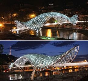 d48366cf22 The Bridge of Peace - Tbilisi, Georgia; pedestrian bridge designed by Michel  De Lucchi and Philippe Martinaud; opened in 2010; has a 492 feet long  canopy ...