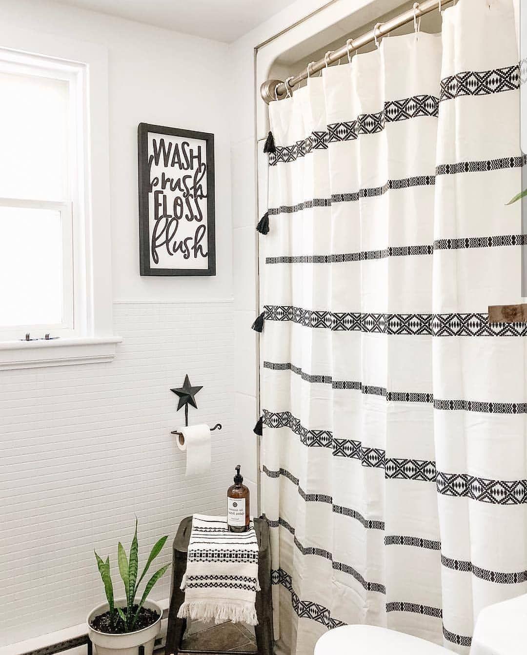 Farmhouse stylebook on instagram black and white bath