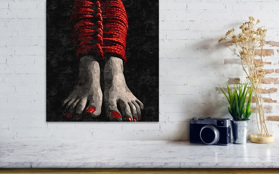 Red Ropes - Arty Bdsm, Bondage Play, Feets Fetish Poster by BDSM Love #faa #fineartamerica #posters #art #wallart #decor