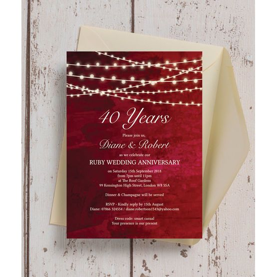 60 X Ruby Wedding Anniversary Invitation Cards 40th Party