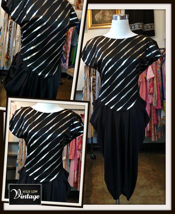 Vintage Black & Silver Metallic Jersey Dress by HighLowVintage