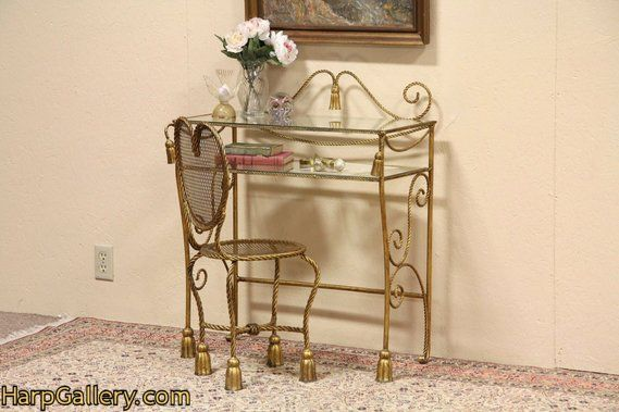 Wrought Iron Glass Dressing Table Or Vanity And Chair Harp