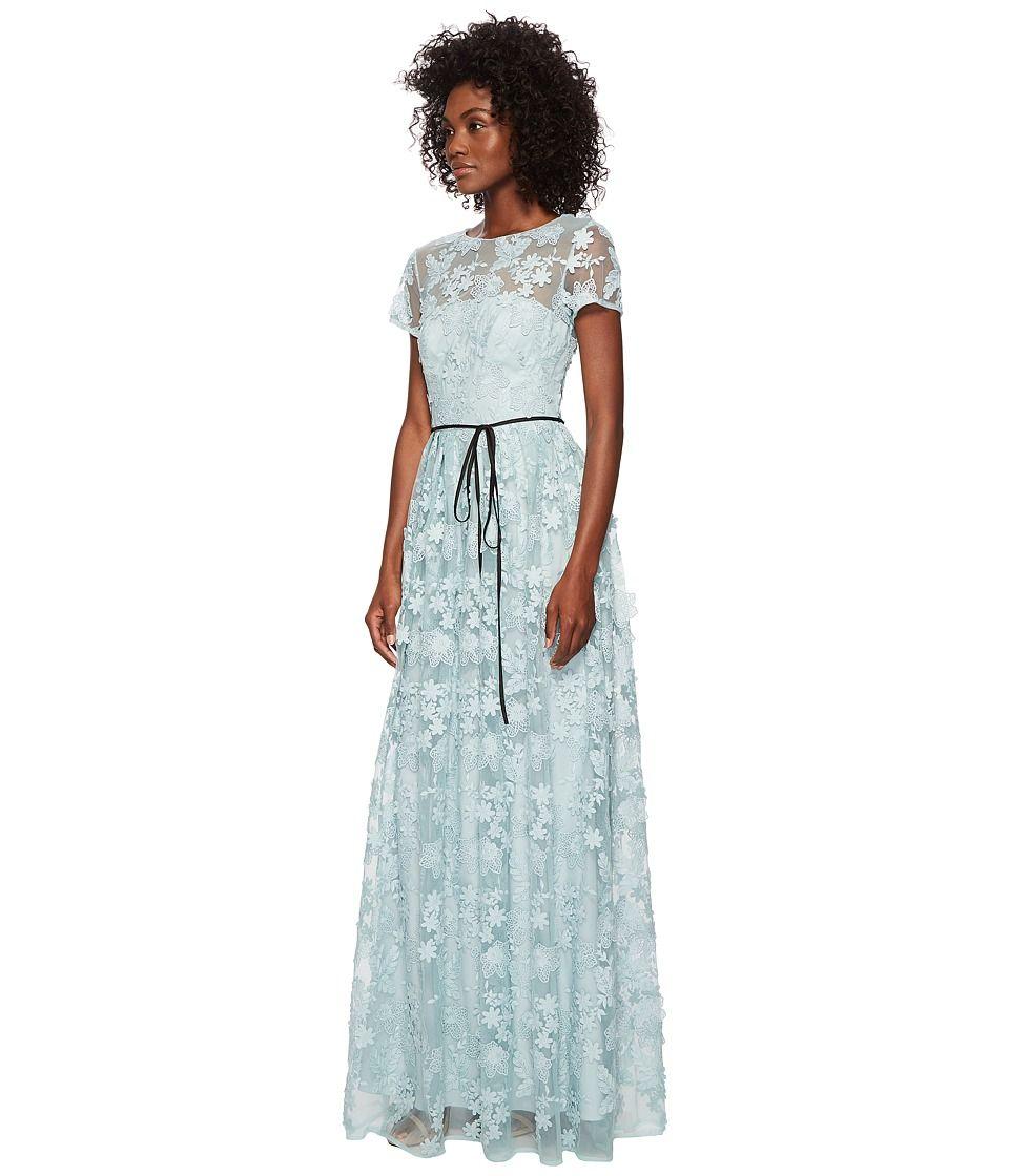 Ml Monique Lhuillier Short Sleeve Long Lace Maxi Dress