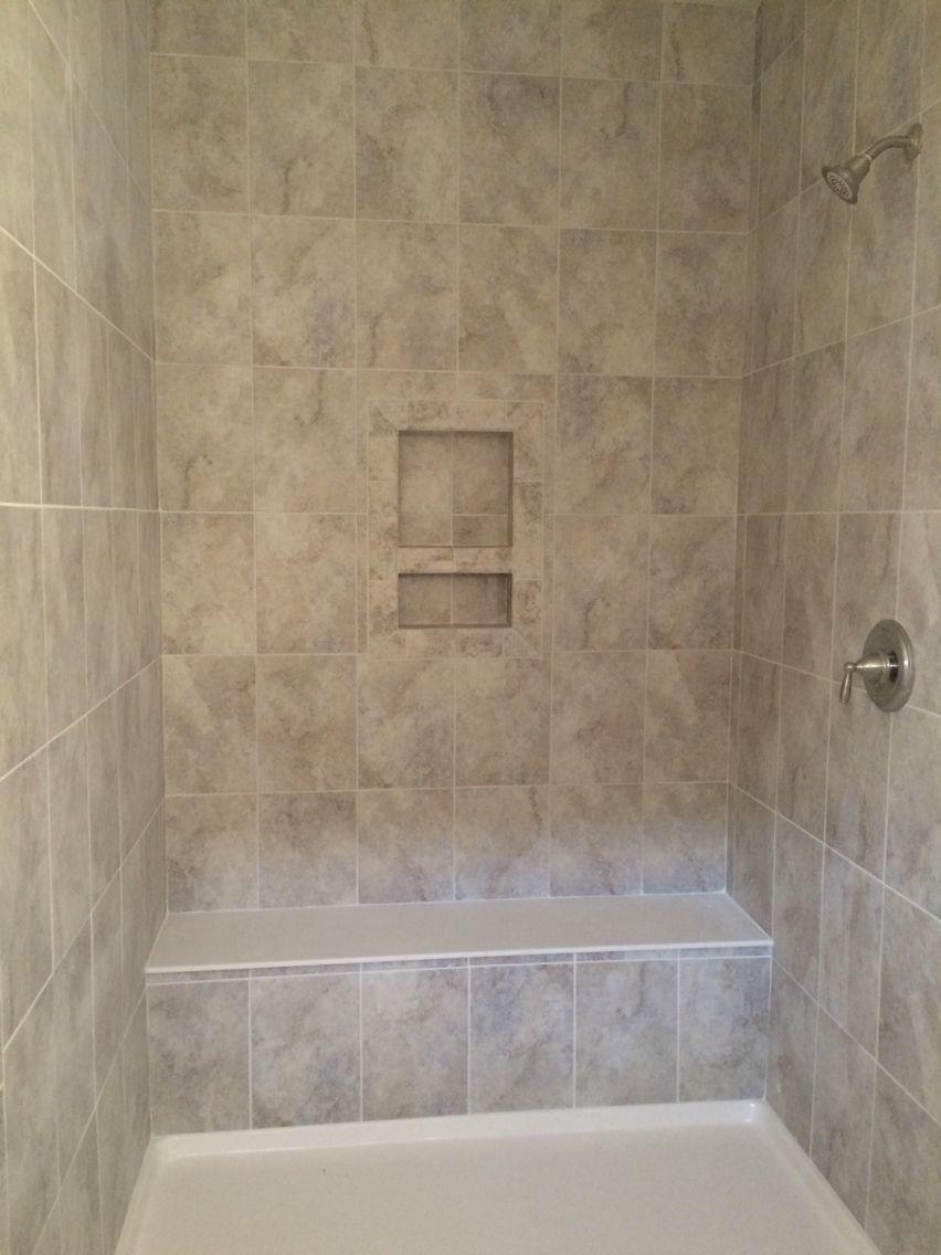 Master bathroom shower. Daltile Grigio Perla tile in 8x10 layed ...