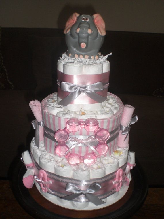 Pink, Silver Elephant Diaper Cake | Elephant Bank Pink And Grey Diaper Cake  Baby Shower