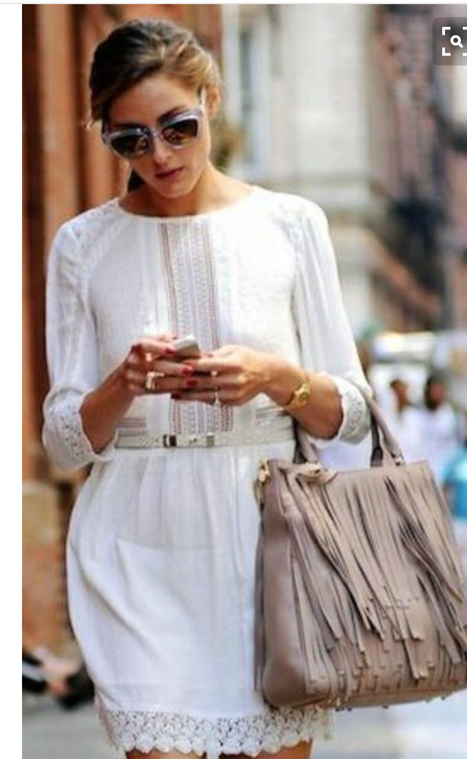 Spring trends and dresses 2016. White dress with neutral  tassel purse,  sunglasses and gold accessories Stitch fix!