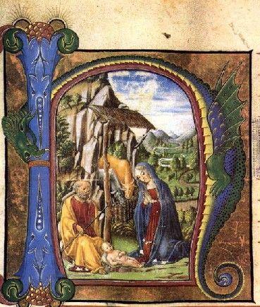FRANCESCO DI GIORGIO MARTINI - Natività -  Antiphonario - miniatura - c. 1460 - Museo del Duomo, Chiusi
