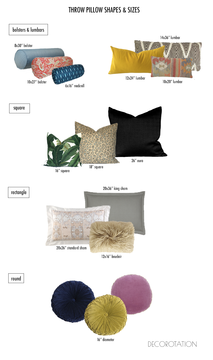 Standard Decorative Pillow Dimensions : HOW TO CHOOSE THROW PILLOWS: SIZES and SHAPES ON THE BLOG. Pinterest Throw pillows and Pillows