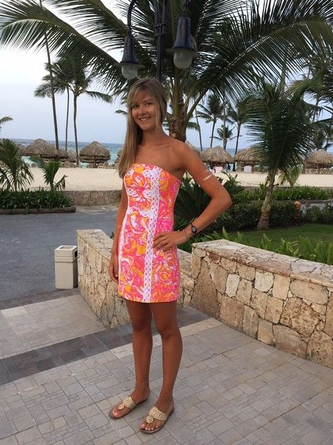 8ab347a05255 Via @soccerstreak16 Instagram- Caroline looks so FAB on vacation in her  Lilly Pulitzer Tansy Strapless Dress in Sea or be Seen