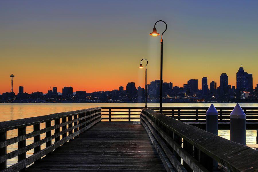 Seattle Beach Skyline From The Alki Seacrest Park Photograph