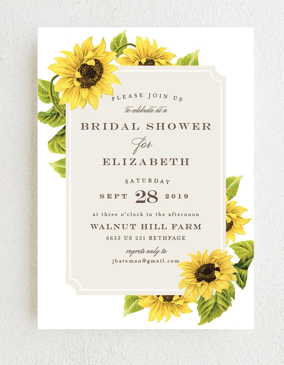 Sunflower Field Bridal Shower Invitations in 2020 Fall
