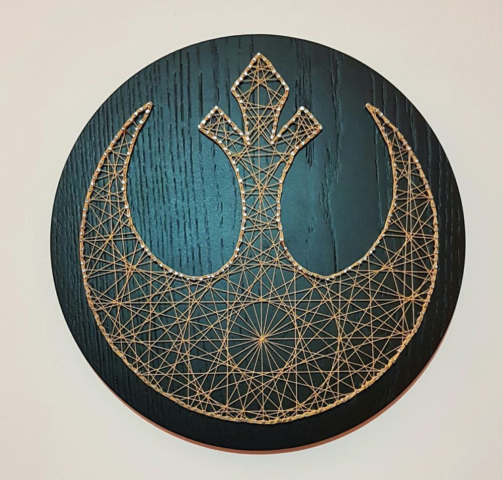 Handmade Star Wars string art, gold thread and stained Oak | Black ...