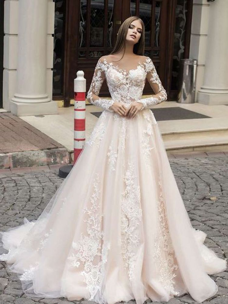 Best 12 Elegant Scoop Neck Champagne Long Sleeves Wedding Dresses, Lace & Appliques Wedding · Grace Girls Dress · Online Store Powered by Storenvy