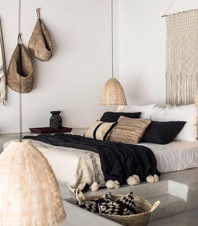 Bedroom Inspo Macrame Headboard Navy White Beige Natural Minimalist Scandiboho Scandi Scandinavian Hotel Bedroom Design Bedroom Interior Home Bedroom #scandi #boho #living #room