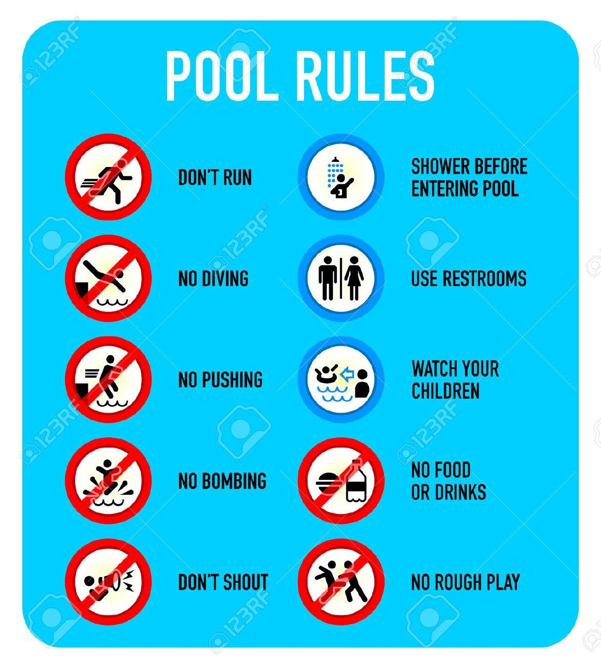 Swimming Pool Rules and Regulations Signs … in 2019 ...