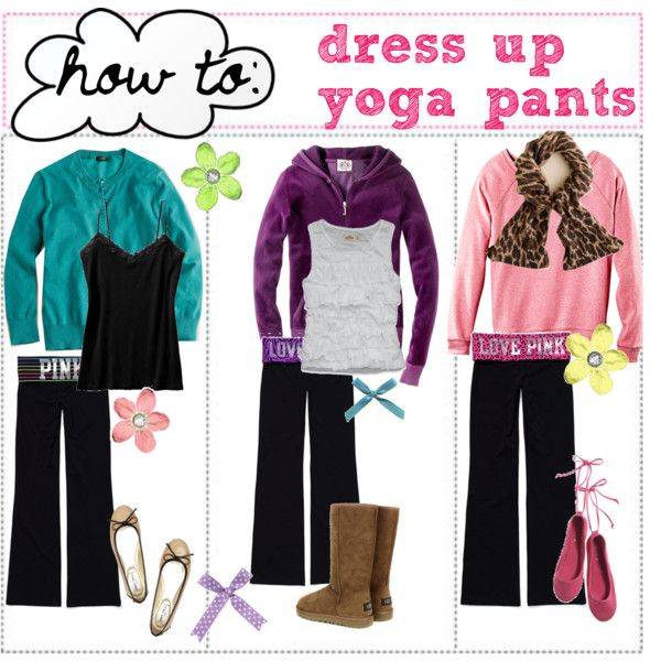 """tip 18;; how to dress up yoga pants"" by sugarandsparkles on Polyvore"