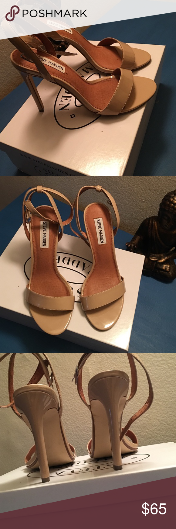 Steve Madden heels Style name: Provence, 4.25 inch heel, color blush nude, size 8, worn once no scuffs brand new. Comes with Steve Madden box. Steve Madden Shoes Heels