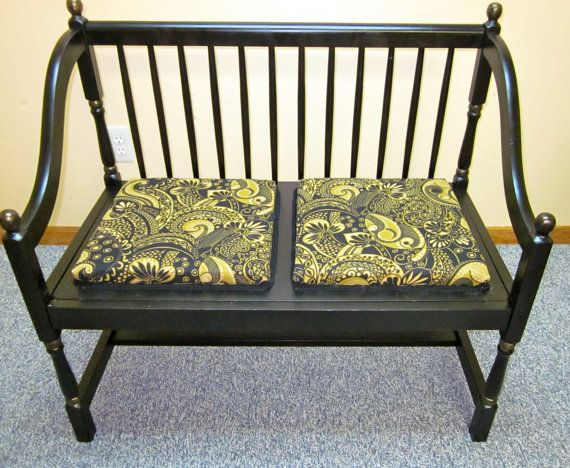 Antique Foyer Bench : Vintage settee bench black upholstered settees and etsy