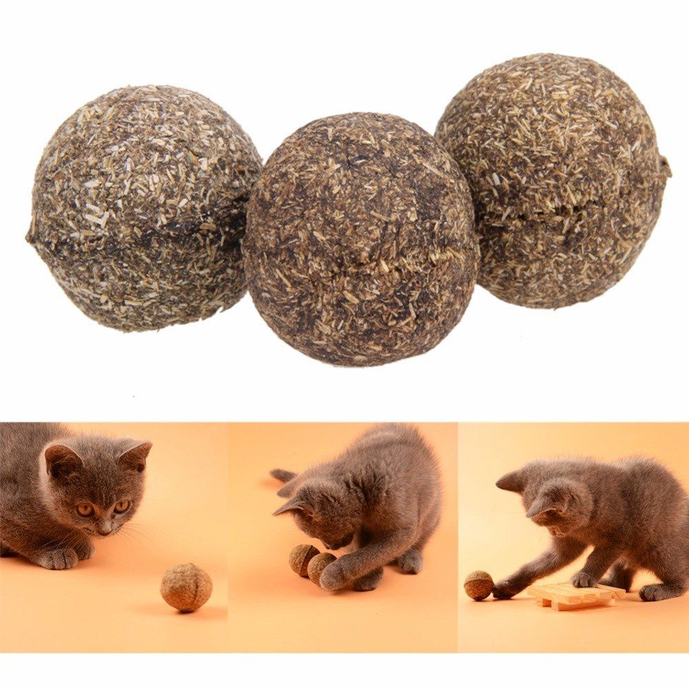 3 Pcs Pet Cat Toys Catnip Ball Natural Menthol Flavor Treats Ball Chasing Home Toys Safe Healthy Edible Treat Cat Supplies Weight 20g Color Multicolor Siz