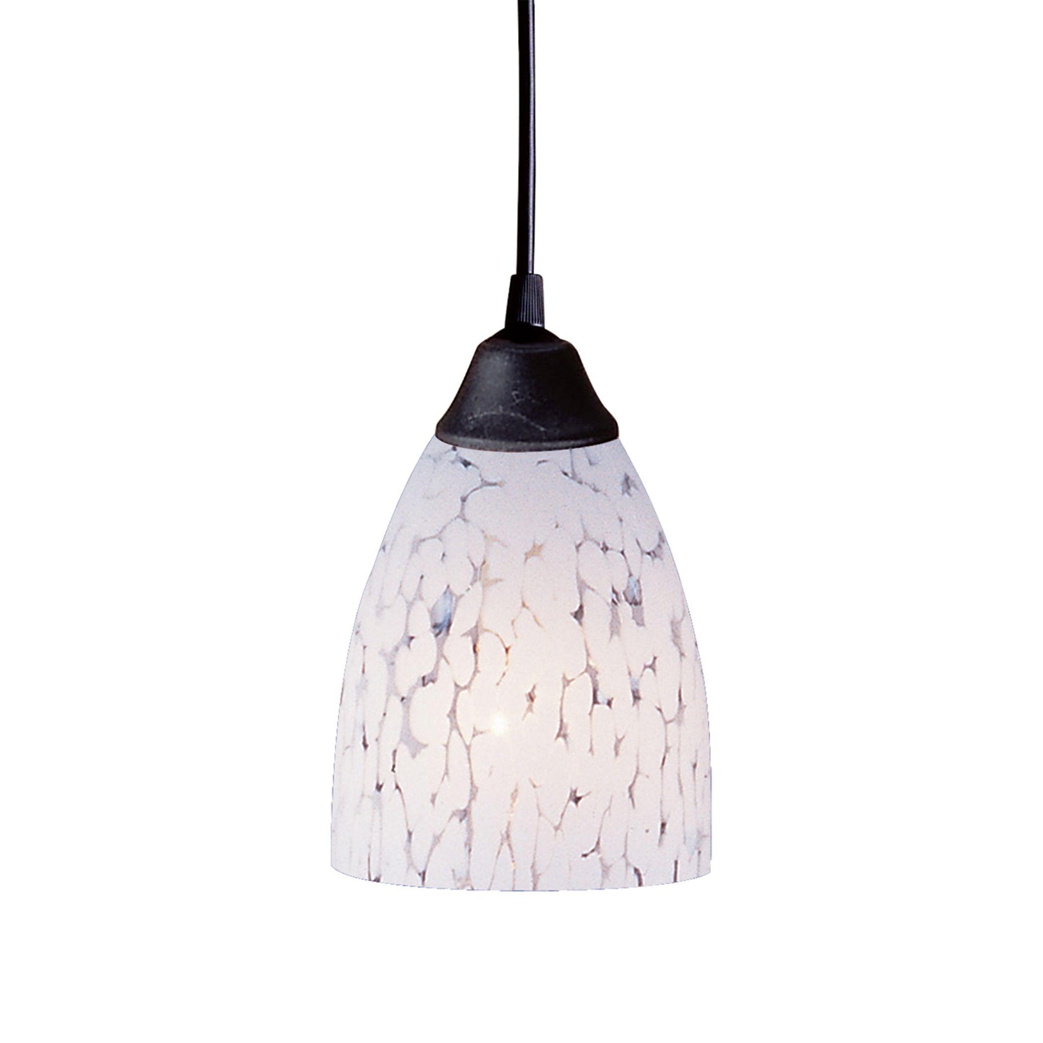 Classico light pendant in dark rust and snow white glass elk