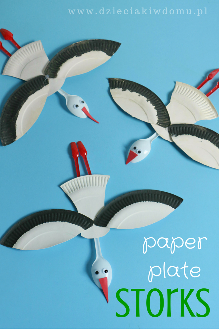 Bocian z papierowych talerzykw craft paper plate crafts and paper plate stork craft for kids jeuxipadfo Image collections