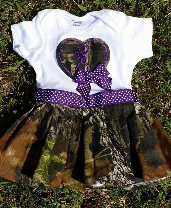 d2d94257a6f4f Purple Camo with Deer Dress SET Newborn to 3t Matching Hair Bow ...