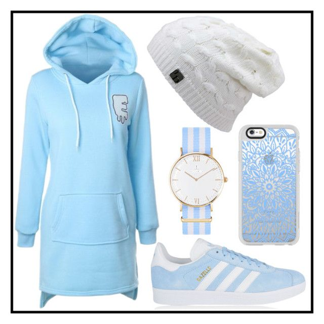 """412: Baby Blue"" by alinepelle ❤ liked on Polyvore featuring adidas Originals, Casetify and Kapten & Son"