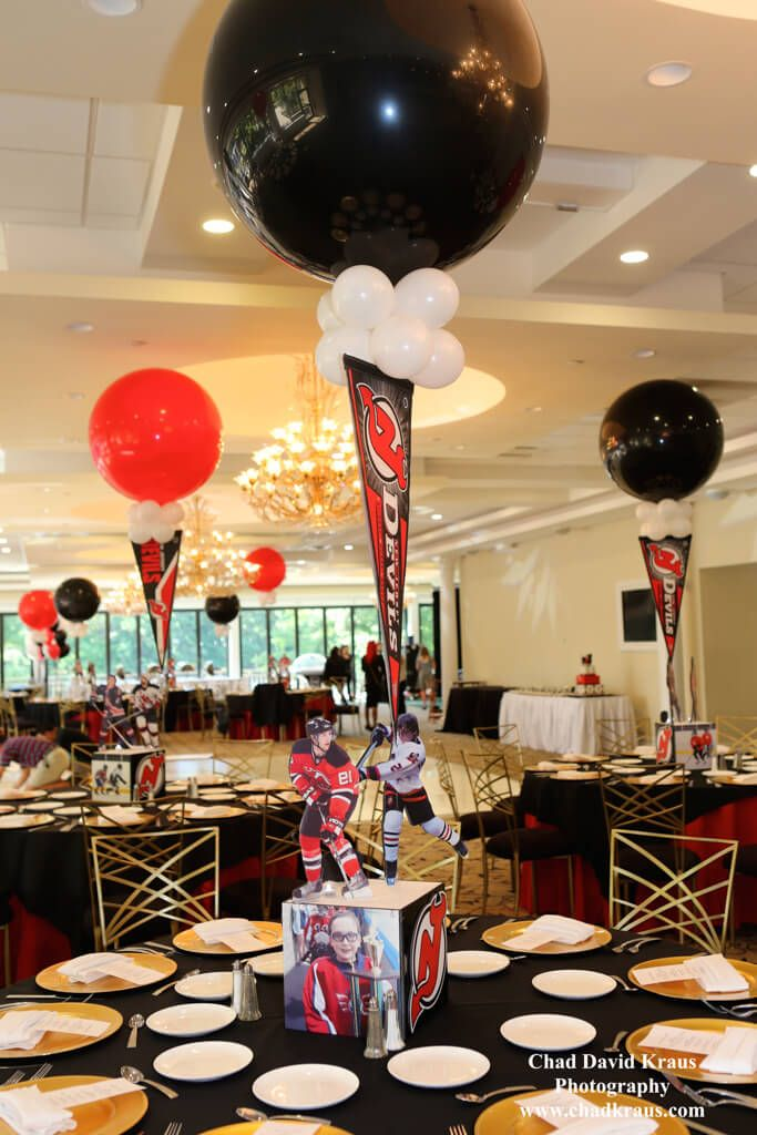 hockey themed centerpiece hockey themed centerpiece with cutout rh pinterest com hockey banquet table centerpieces