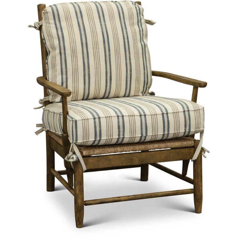 Cream Tan And Blue Striped Accent Chair Riverbank Cheap