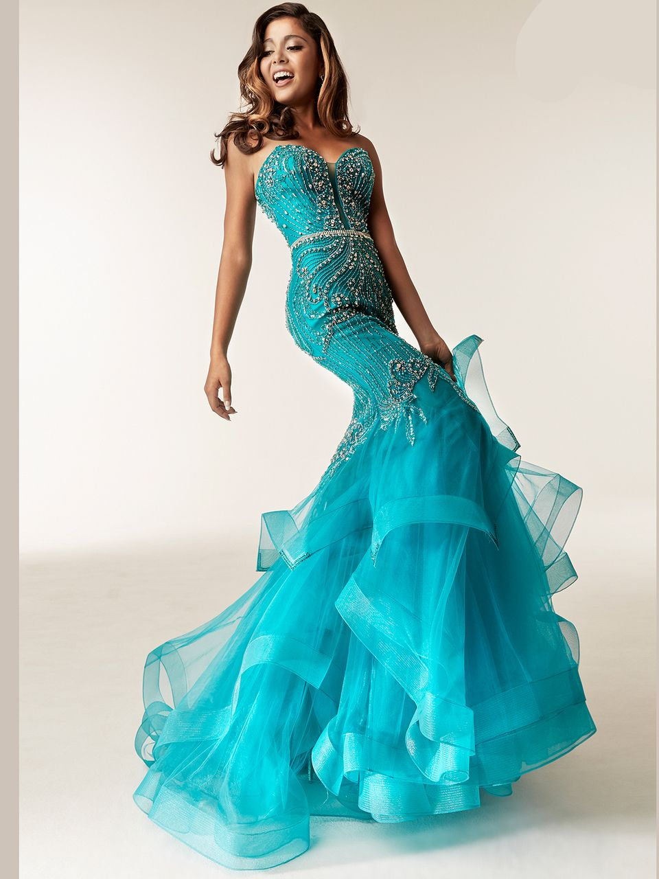 Pageantry dress in teal with fully beaded bodice and ...
