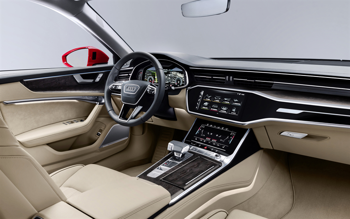 Download Wallpapers Audi A6 2019 4k Interior View Inside Luxury Sedan White Interior New A6 German Cars Audi Besthqwallpapers Com Luxury Sedan Audi A6 Audi