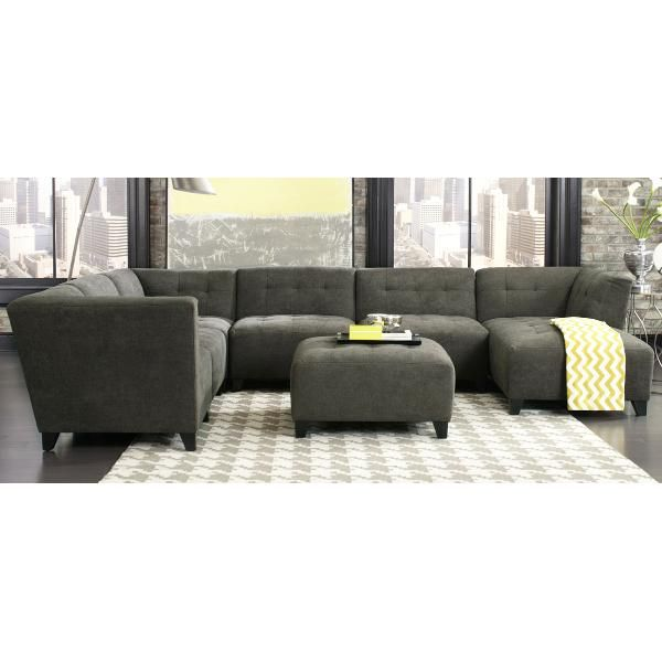 Best Granite Gray Classic Modern 6 Piece Sectional Sofa 400 x 300
