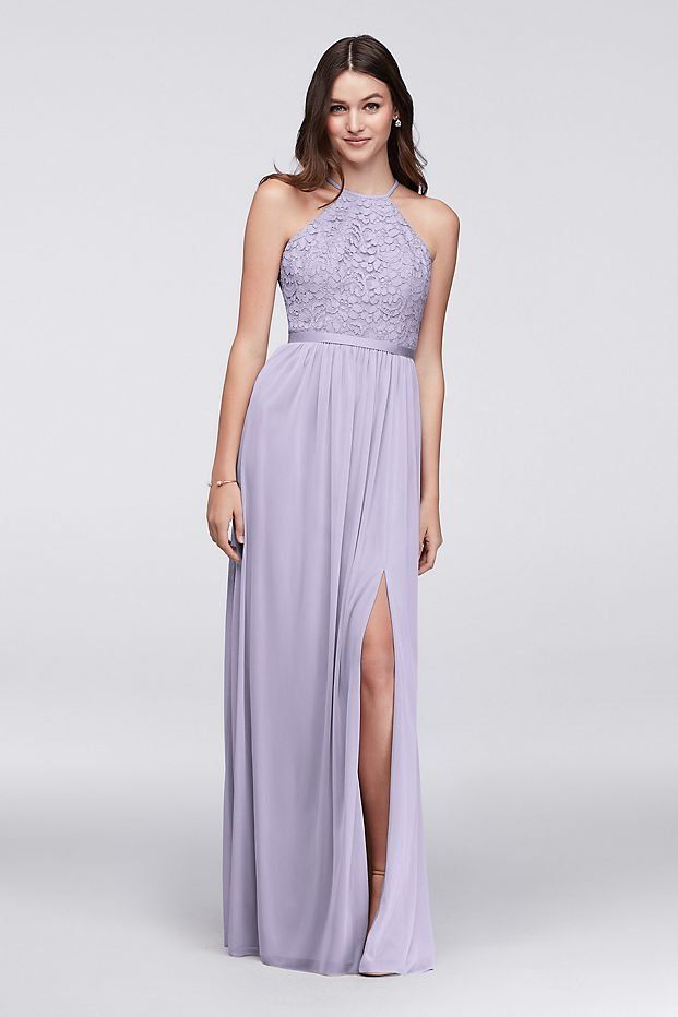 9759615c75e Purple Open-Back Lace and Mesh Bridesmaid Dress