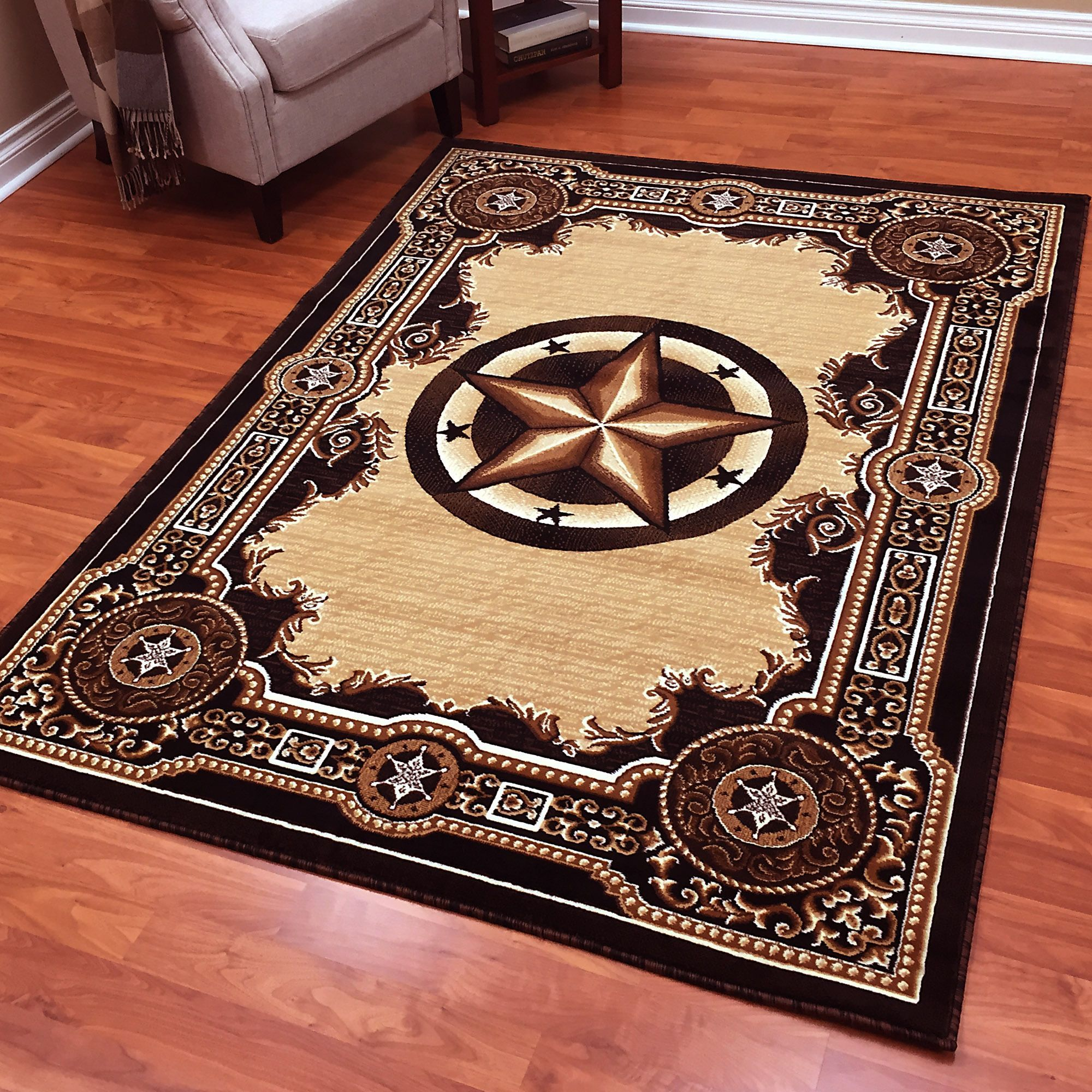 Donnieann Traditions Western Star Black Polypropylene Area Rug 5 X 7