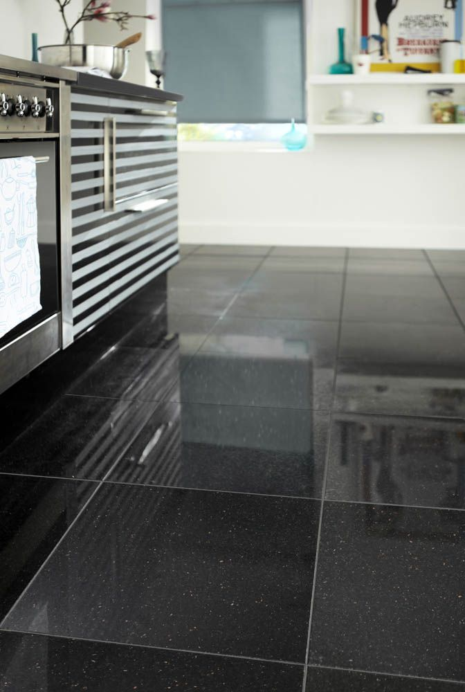 Polished Granite Black Galaxy 305x305cm Tile Topps Tiles 28
