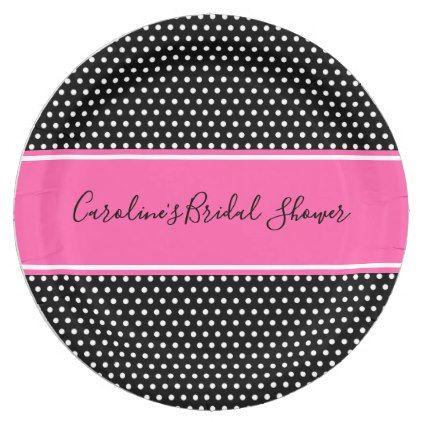 Black and Pink Bridal Shower Monogram Paper Plates | Bridal showers Bridal showers and Weddings  sc 1 st  Pinterest & Black and Pink Bridal Shower Monogram Paper Plates | Bridal showers ...