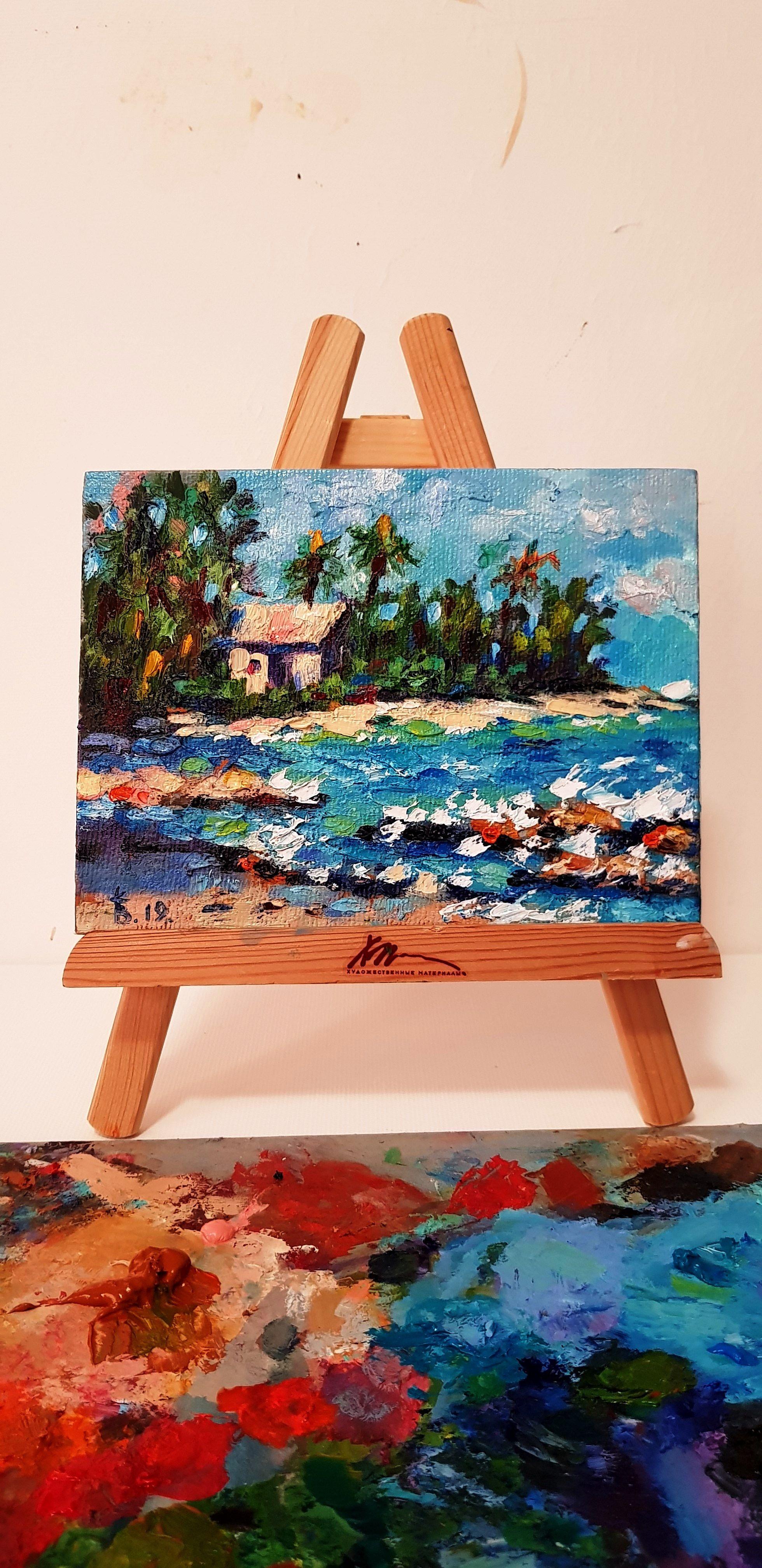 Florida Coast Painting Miami Beach Wall Art Tropical Abstract