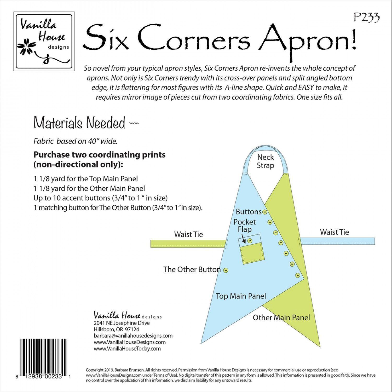 Six Corners Apron Sewing Pattern From Vanilla House Designs In 2020 Apron Sewing Pattern Sewing Aprons Sewing Patterns