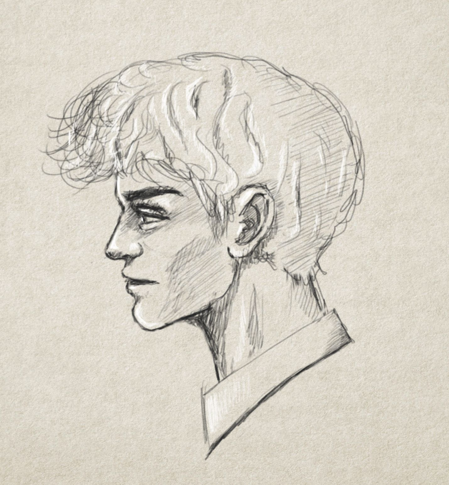Man Head Drawing Side View Hairstyle My Drawings Drawing Sketches Drawings