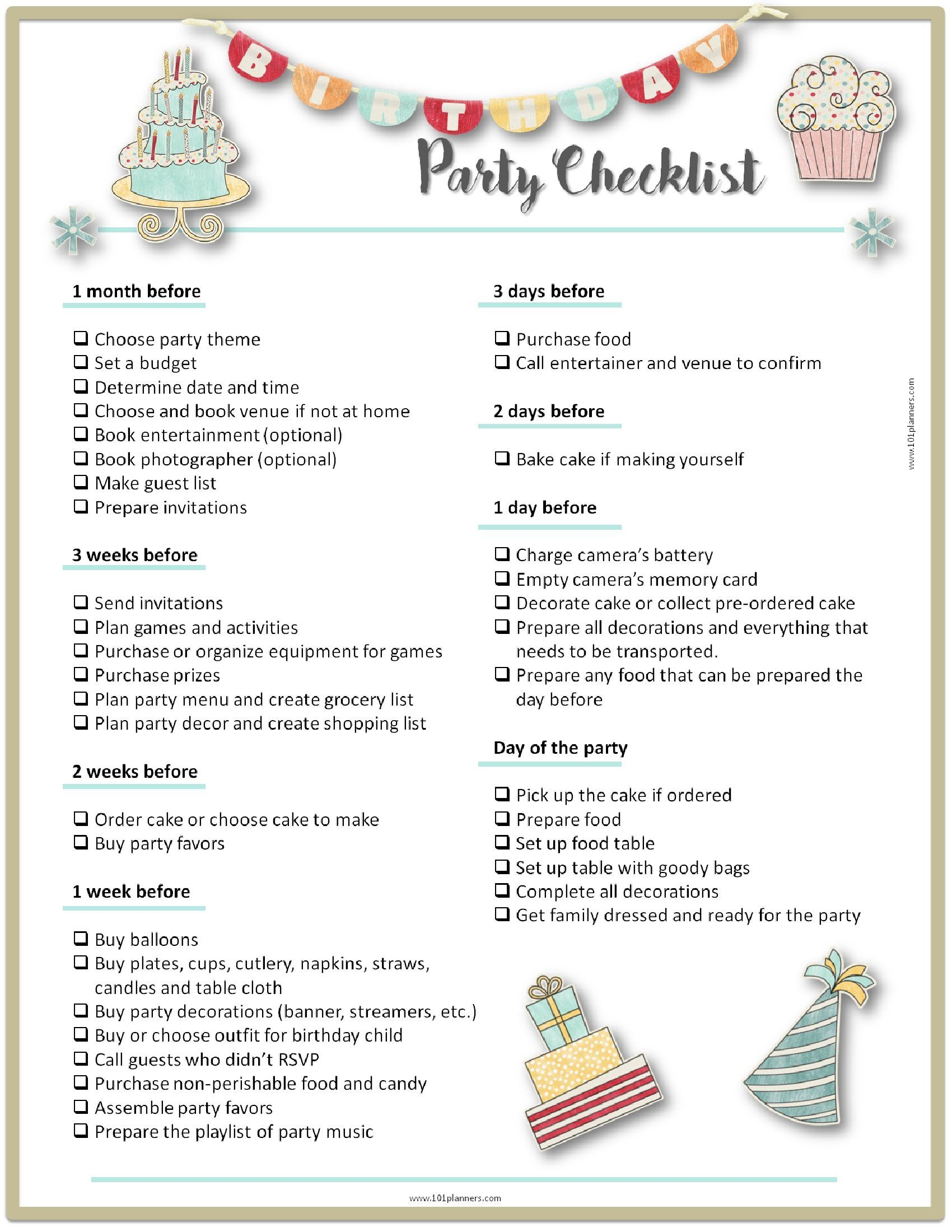 Party Planning Checklist Birthday Party Checklist Party