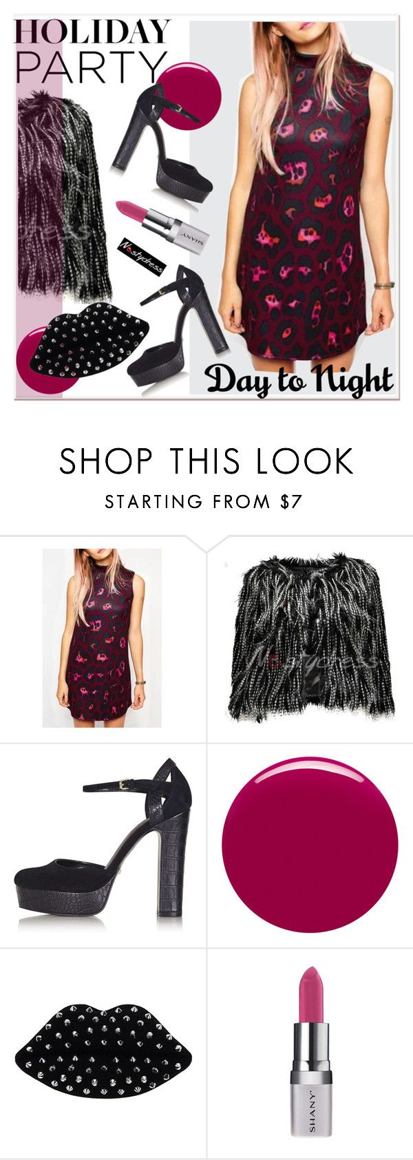 """""""Day to Night: Holiday Party 3"""" by paculi ❤ liked on Polyvore featuring Topshop, Nails Inc., Lulu Guinness, Shany, nastydress and holydayparty"""