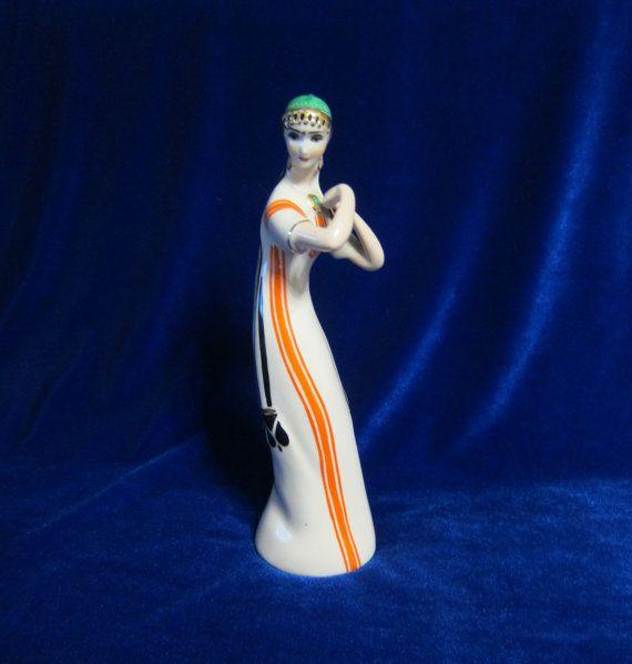 Vintage USSR Porcelain Figurine girl music tajikistan koresten soviet 1950 ukrainian
