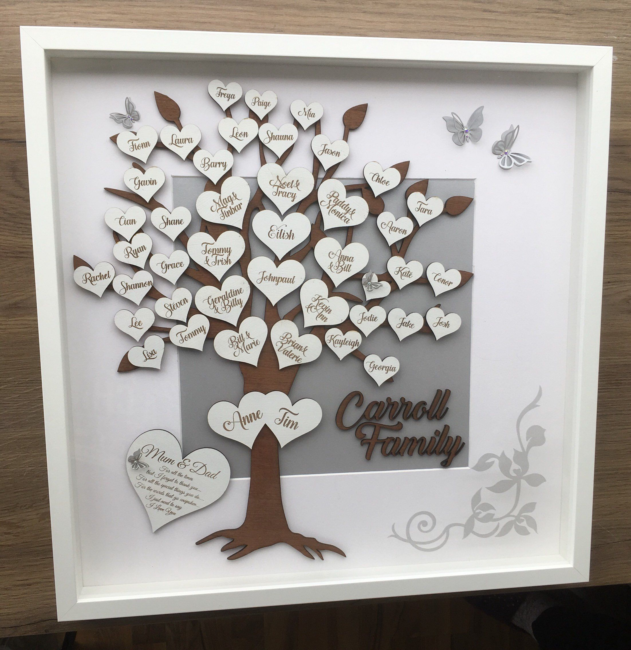Family tree box frame personalised laser engraved