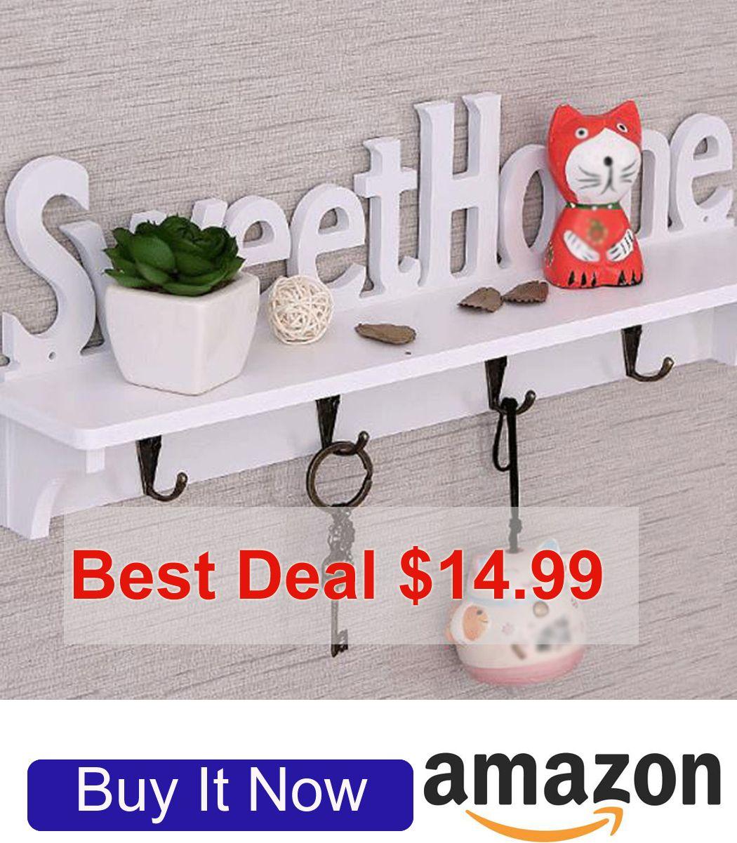 14 99 Christmasgift Key Holder For Wall Towel Rack 4 Hooks Sweethome White Home Dorm Decorative Wall Towel Racks Ebay Decor