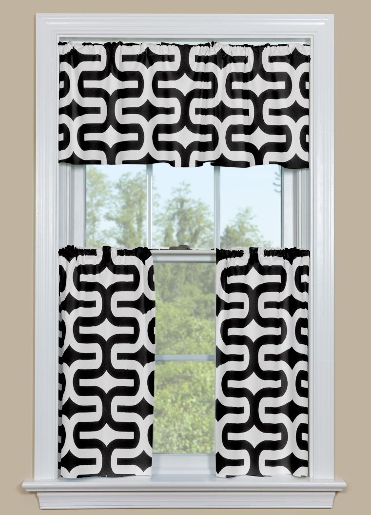 Kitchen drapery panels with retro geometric pattern in black and white