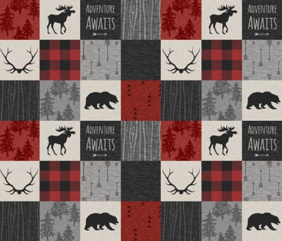 Adventure Awaits Woodland Patchwork Nursery Quilt Fabric By The Yard Black Red Cheater