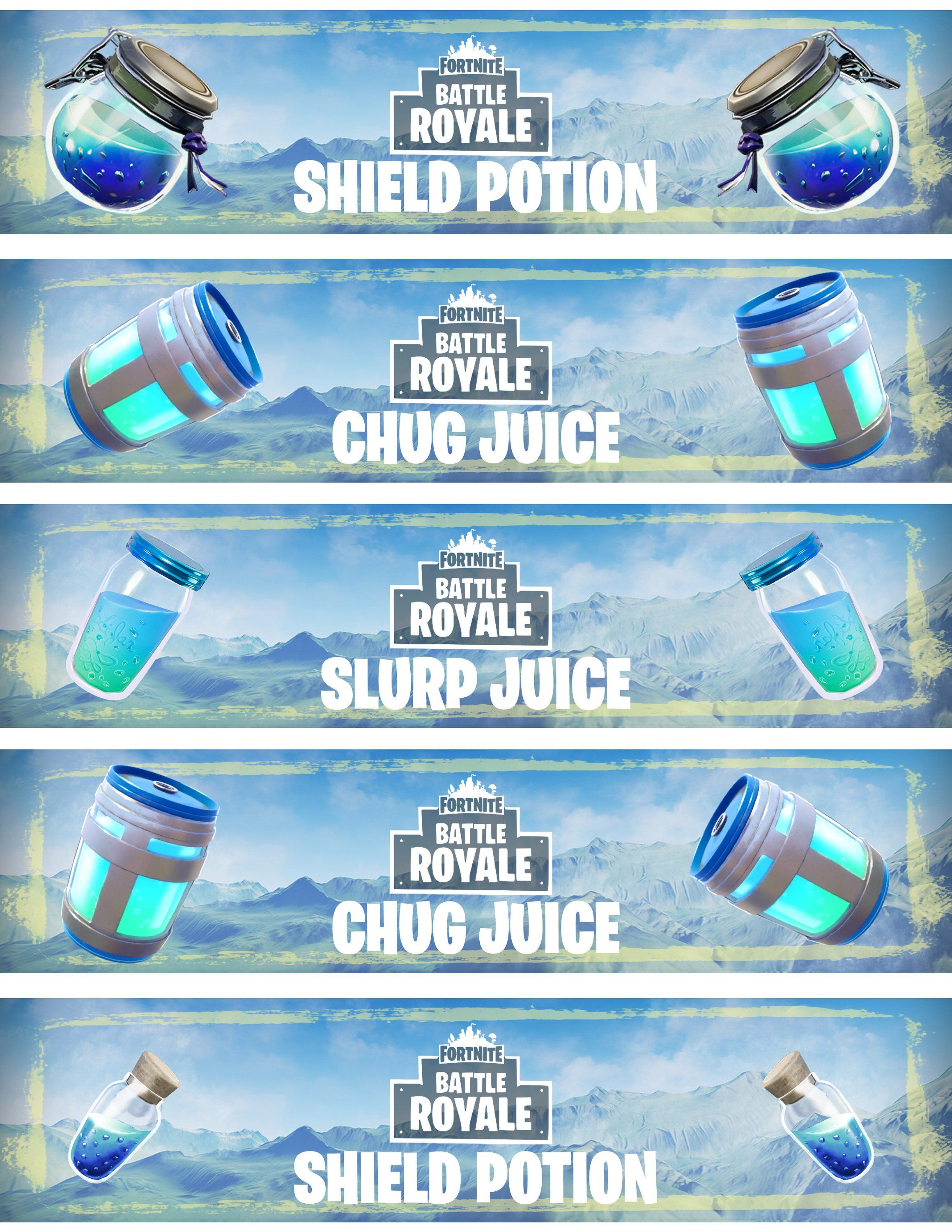 Battle Royale Labels Chug Jug Inspired Water Bottle Labels Etsy Birthday Party Printables Free Party Printables Free Free Birthday Stuff