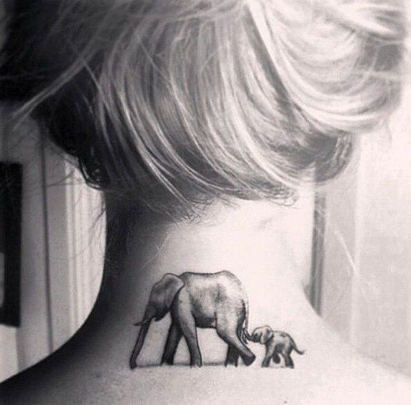 55 Attractive Back Of Neck Tattoo Designs For Creative Juice Back Of Neck Tattoo Elephant Tattoo Elephant Tattoo Design