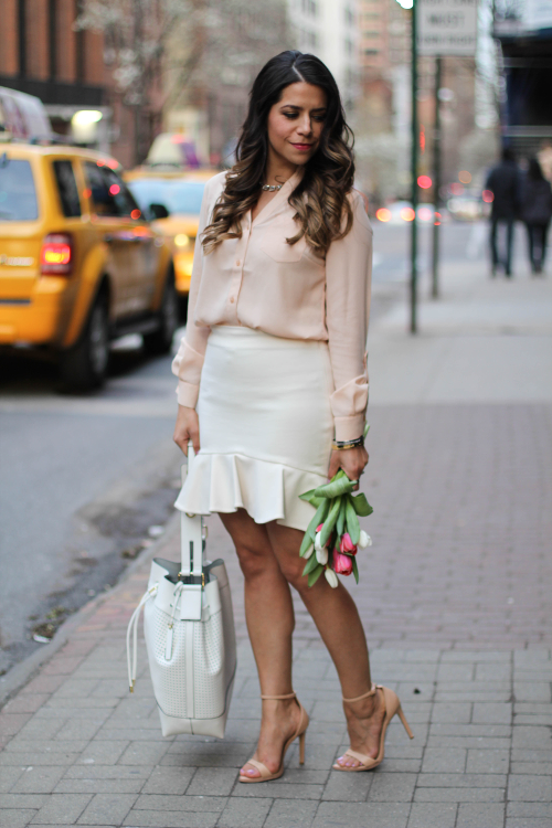 Easter Sunday | High Low Skirt + Blush Blouse |Corporate Catwalk by Olivia | Fashion Blogger in the Corporate World