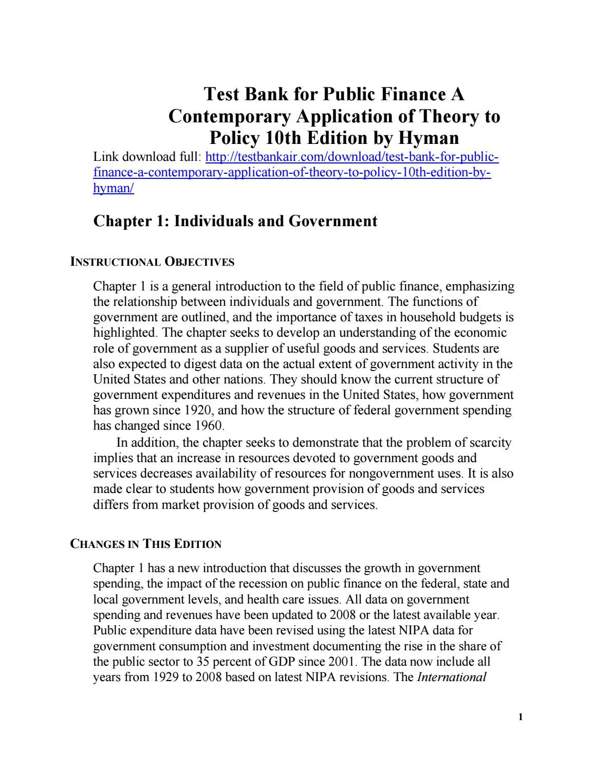 Download test bank for public finance a contemporary application of download test bank for public finance a contemporary application of theory to policy 10th edition by fandeluxe